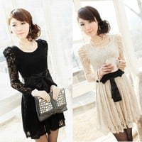 Sexy Lady's Long Sleeve Lace Leopar Black White Formal Party Dress Evening Dress