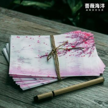 5pcs/lot pink Japan cherry sakura blossom painting design artificial parchment paper envelope (size for post card)