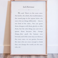 Crazy Ones Sign, Here's to the Crazy Ones, Jack Kerouac Quote, Jack Kerouac, Steve Jobs Quote, Steve Jobs, Wood Sign, Home and Living