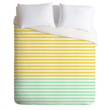 Allyson Johnson Mint And Chartreuse Stripes Duvet Cover