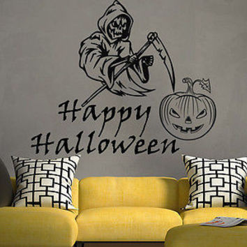 Wall Decal Happy Halloween Vinyl Sticker Decals Pumpkin Grim Reaper Decor C178