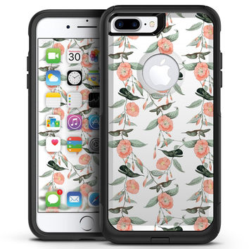 The Coral Flower and Hummingbird All Over Print - iPhone 7 or 7 Plus Commuter Case Skin Kit