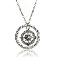 Retro Silver Compass Charm Love Dream Hope Trust Words Circle Charm Pendant Necklace Best Friends Jewelry Party Gifts
