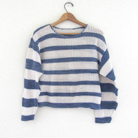 vintage preppy open knit sweater. blue and white stripes sweater. cropped nautical sweater.