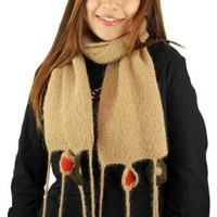 Handmade Artisan Designer PURE ALPACA NATURAL FIBER Scarf - Caramel Creme (Knitted by Hand with Cro