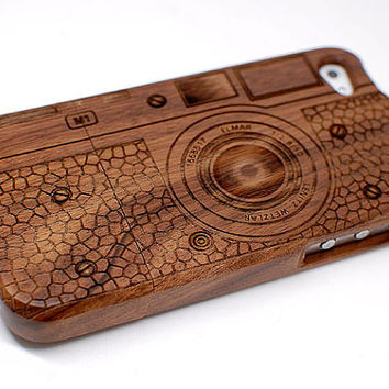 Natural wood iPhone 4 Case,iphone 5 case,Sapele Wood Engraved Vintage Camera LEICA M1 Case for iPhone 4 4g 4s 5,3D,Laser Engraving,Art,Gift