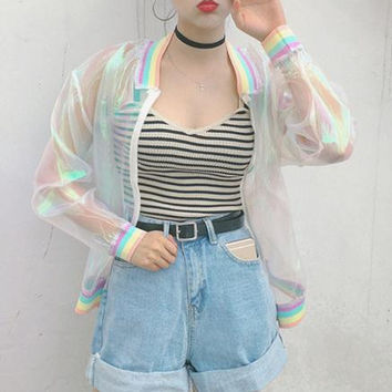 Laser Rainbow Symphony Hologram Transparent Bomber Jacket