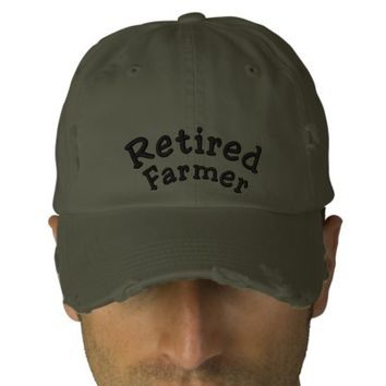 Retired, Farmer Embroidered Hat | Zazzle