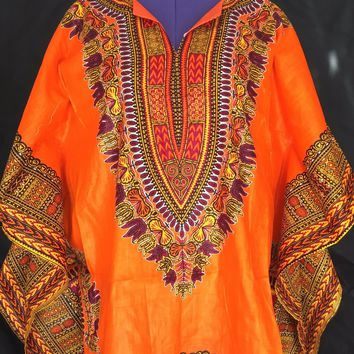 Angel Sleeve Dashiki Mini African Print Tunic Dress Top