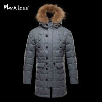 Men Thick Long Parka Down Clothing Men's Casual Wool Hooded Down Coats Male Fashion Winter Outerwear