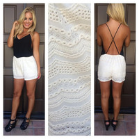 A Place In The Sun Embroidered Romper - IVORY & BLACK