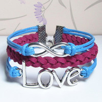Love Symtol Bracelet,Infinity Bracelet.Blue Wax Cords and Rose Braid bracelet.