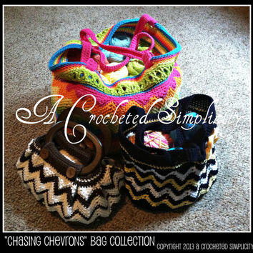 "3 Crochet Patterns: ""Chasing Chevrons"" Bag Collection, Beach Bag, Shoulder Bag & Handbag Patterns, Permission to Sell Finished Items"