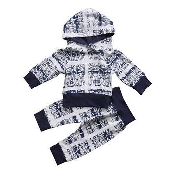 Winter Baby Clothing Newborn Baby Boy Girls Infant Long Sleeve Hooded T-shirt Tops+Pants Outfits