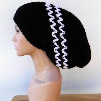 ac40ee517bf Long black white slouchy large Tam Dreadlock Hippie Beanie Dread