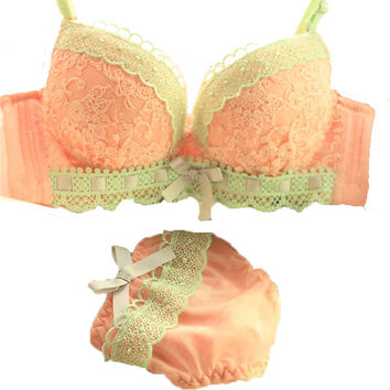 6 Color Cup A B C 34 36 38 40 bra lace Carving sexy push up women bra set young girl sets women underwear lingerie cotton