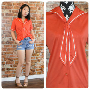 Vintage 70s Sailor Red Blouse