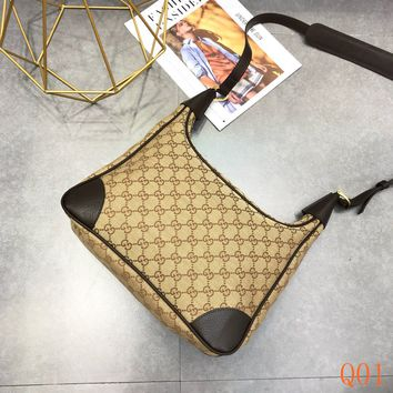 HCXX 19Aug 877 Gucci 321012 Fashion Printed Monogram Canvas Leather Shoulder Hobo 32-20-10cm