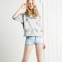 Gray Floral And Letter Print Sleeve Shirt