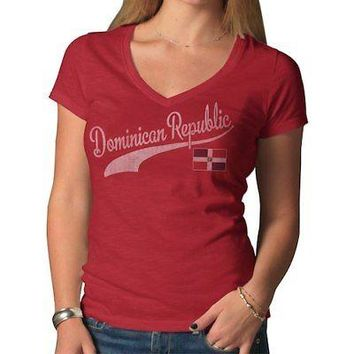 Licensed Sports Dominican Republic '47 Women's Country Scrum T-Shirt - Red KO_20_2