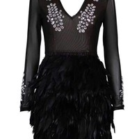 Black Diamonds And Feathers Mini Dress