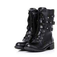Black lace up army boots from Style Revision