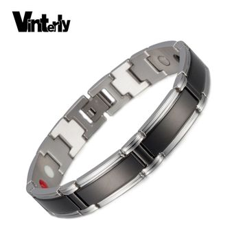 Vinterly Black Magnetic Bracelet Men Chain Link Punk Stainless Steel Bracelet Men Jewelry Health Germanium Bracelet for Men 2018