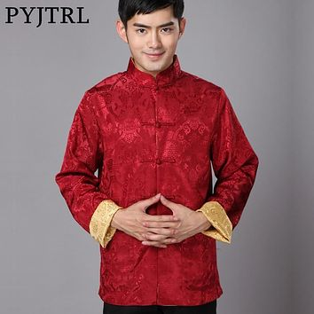 Men Long Sleeve Vintage Double-sided Silk Satin Dobby Fabric Chinese Tunic Suit Blazers Loose Coat
