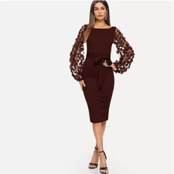 Elegant Embroidery Flower Applique Mesh Sleeve Belted Form Fitting Dress Lady Midi Party Dresses