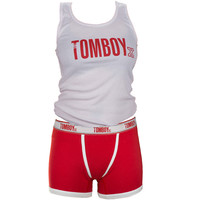 TomboyX Tank & Boxer Briefs - White/Red Good Carma Combo