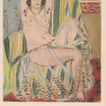 "Vintage US Postcard -- Henri Matisse ""Odalisque with Raised Arms"" -- 1970?"