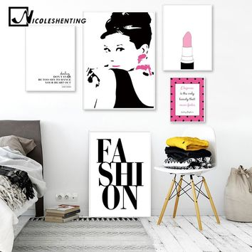 Audrey Hepburn Makeup Fashion Art Canvas Painting Pink Beauty Fashion Prints Posters Quote Wall Picture Girls Bedroom Decoration