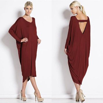 Plus Size Long Dresses Womens Spring Fashion V-Neck Backless Batwing Sleeve Loose Dress Women Casual Dresses New Arrival