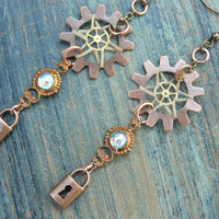 victorian steampunk lock dreamcatcher earrings in steampunk victorian native american inspired  tribal boho belly dancer and hipster style
