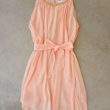 .Sealed with a Peach Dress [6984] - $42.00 : Feminine, Bohemian, & Vintage Inspired Clothing at Affordable Prices, deloom