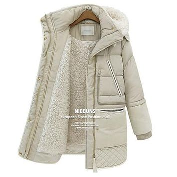 2016 new winter thick down jackets white duck feather lamb wool imitation women's down coat outerwear parkas overcoat QY15061702