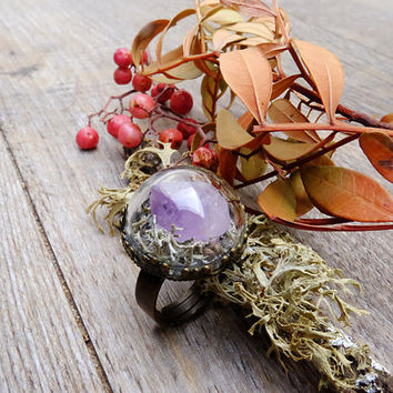 Natural crystal ring, gift for woman, terrarium jewelry, amethyst ring, raw crystal ring, purple ring, moss terrarium, gemstone ring