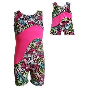 Dollie & Me Cheetah Dance Biketard - Girls 4-12, Size: