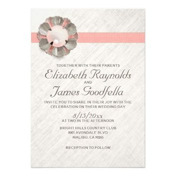 Antique Lace and Pearl Wedding Invitations