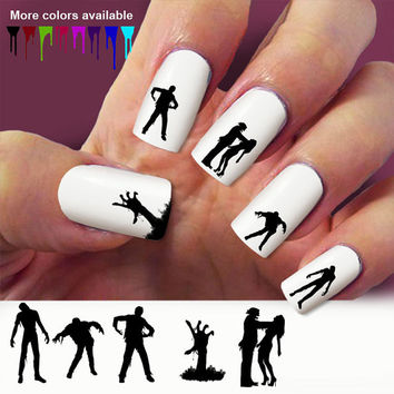 Zombie nail decals, nail art, 60 nail decals, Nail Art design, Water Slide nail Decals ,#ZM001