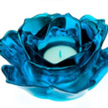 Metallic Porcelain Rose Tealight Candle Holder