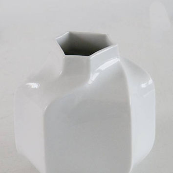 Modernist Rare White Hexagon Porcelain Vase- Heinrich 60s