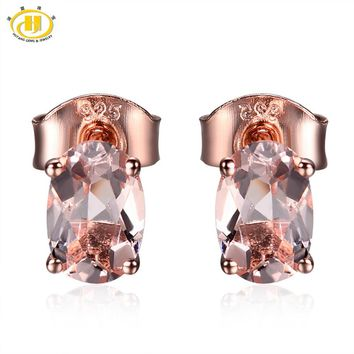 Hutang Natural Morganite Oval 6x4mm Solid 925 Sterling Silver Stud Earrings For Women's