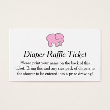 Pink Elephant Diaper Raffle Ticket Girls Shower