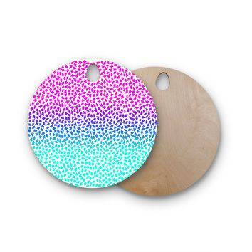 "Sreetama Ray ""Ombre Arrows"" Blue Pink Round Wooden Cutting Board"