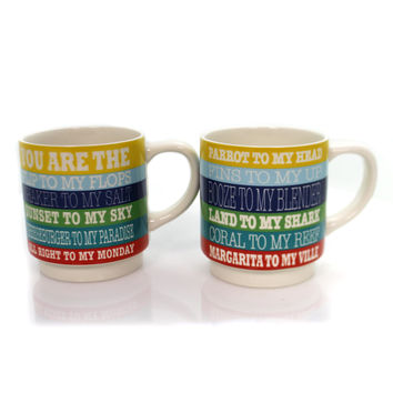 Tabletop LYRICS STACKING MUG SET Ceramic Margaritaville 6000145