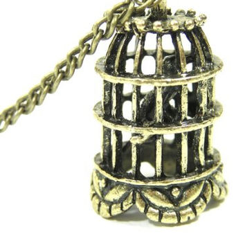 Caged Bird Necklace Vintage Birdcage Antique NF01 Victorian Steampunk Charm Pendant Fashion Jewelry