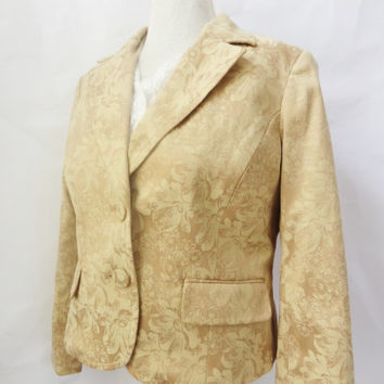 gold jacket womens vintage dressy tayored fitted coat 1980s