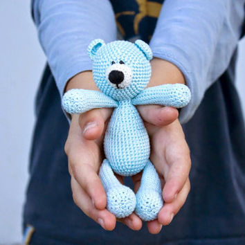 FREE SHIPPING Teddy Bear Light Blue Cute stuffed animal Crochet kids toys Soft toys for baby Birthday gift Christmas gift Child gift