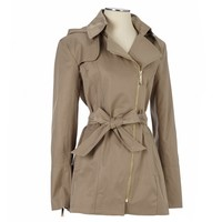 Asymmetrical Zip Belted Raincoat 116008355 | Anorak | Shop By Category | Women | Burlington Coat Factory